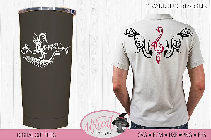 Piano tribal design with music notes, Music treble clef,