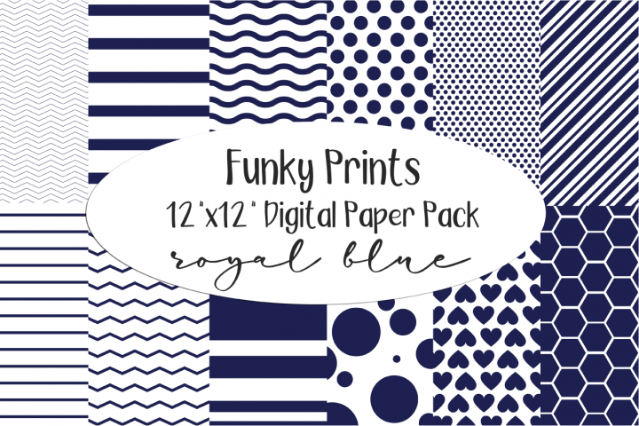 Funky Prints 12x 12 Royal Blue Digital Paper Pack