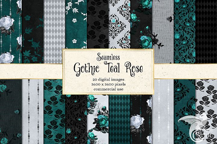Gothic Teal Rose Digital Paper