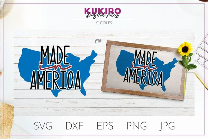 Made in America SVG - 4th Of July sign and shirts cut file