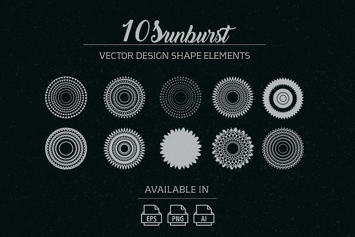 10 sunburst vector shape elements