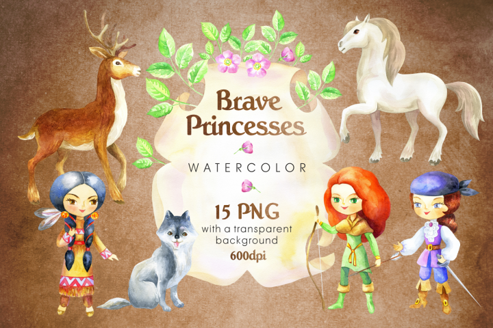 Brave princesses. Watercolor set.