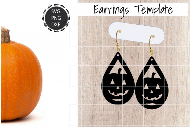 Pumpkin Earrings Svg, Earrings Svg, Halloween Earrings
