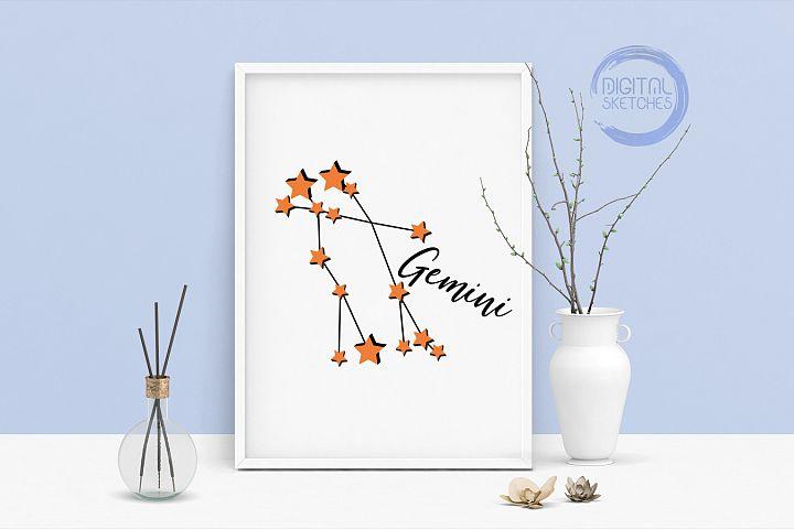 Zodiac Gemini Vector Graphic, Constellation SVG,Astrology