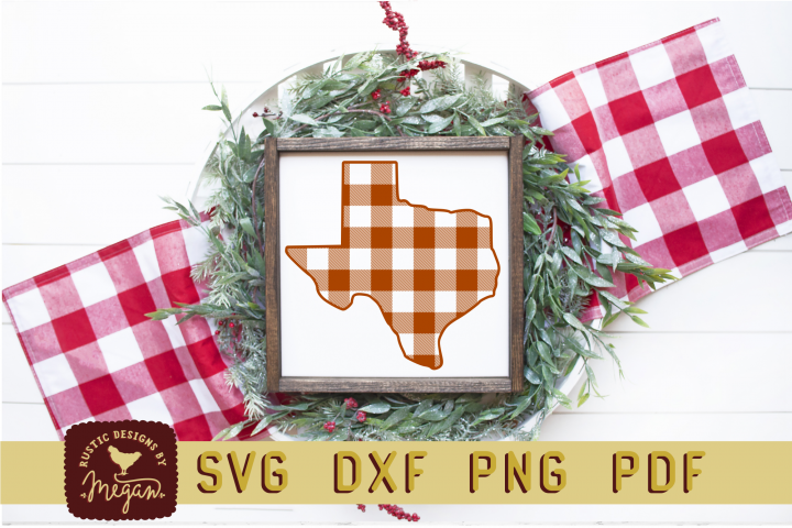 Texas Buffalo Plaid State SVG DXF Cut File
