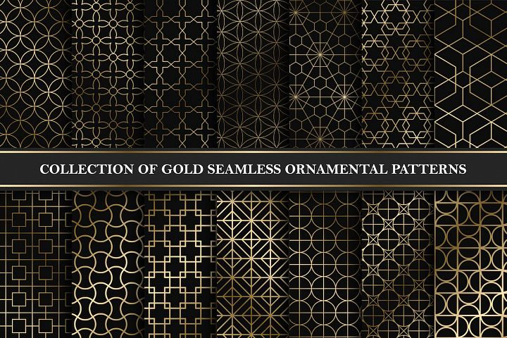 Golden seamless geometric patterns