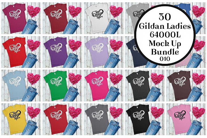 Gildan 64000L Ladies T-Shirt Mockup Bundle Flat Lay