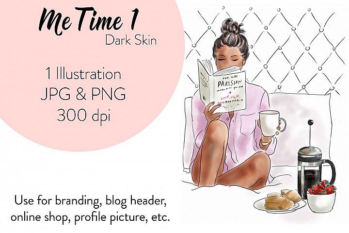 Fashion illustration clipart - Me Time 1 - dark skin