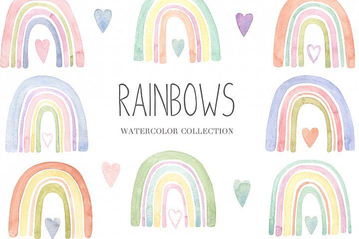Watercolor Boho Rainbow Set and Seamless Patterns