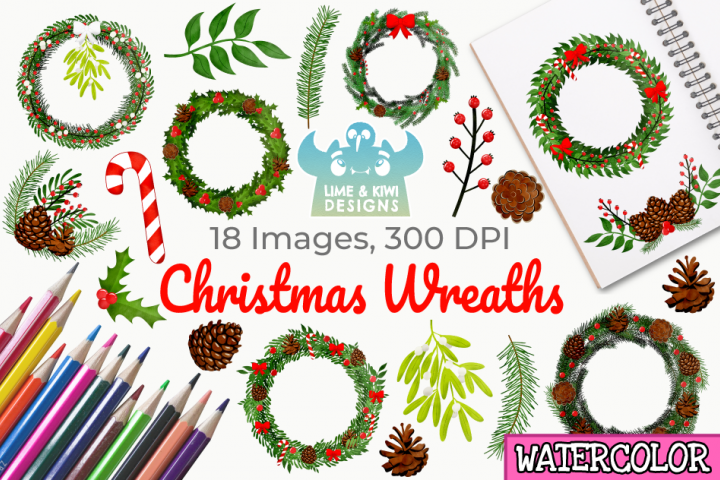 Christmas Wreaths Watercolor Clipart, Instant Download