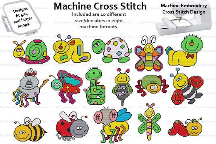 Cute Bugs Set 4x4 Hoop Machine Embroidery Cross Stitch