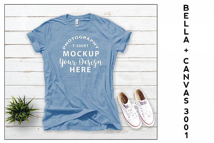 Bella Canvas 3001 T-shirt mock-up, color Heather Blue