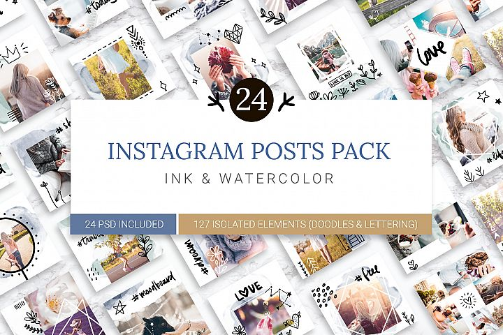 Instagram Watercolor Posts Pack 2