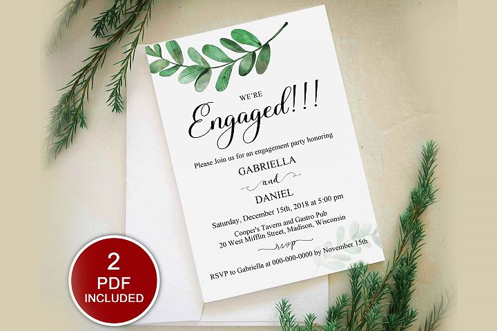 Greenery Engagement Party Invitation Template, DAD_26