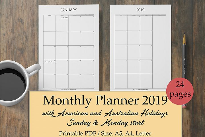 Monthly Printable Planner 2019
