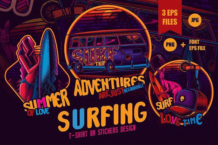 Set of Surfing prints for t-shirts or stickers