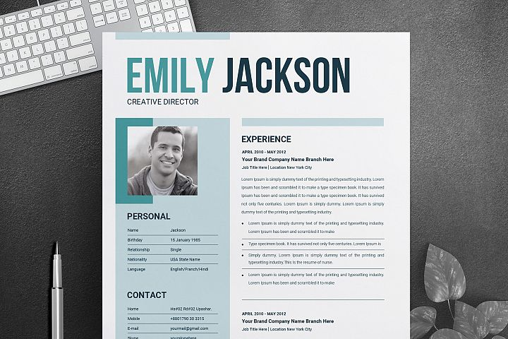 Simple Clean Resume Design Word Template | Two Page Modern