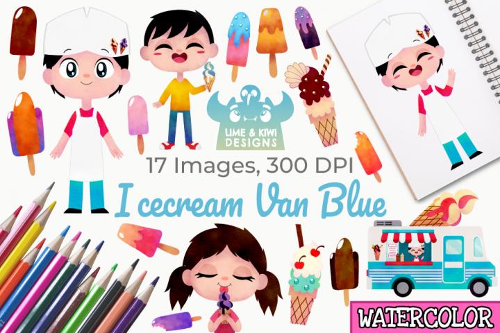 Icecream Van Blue Watercolor Clipart, Instant Download
