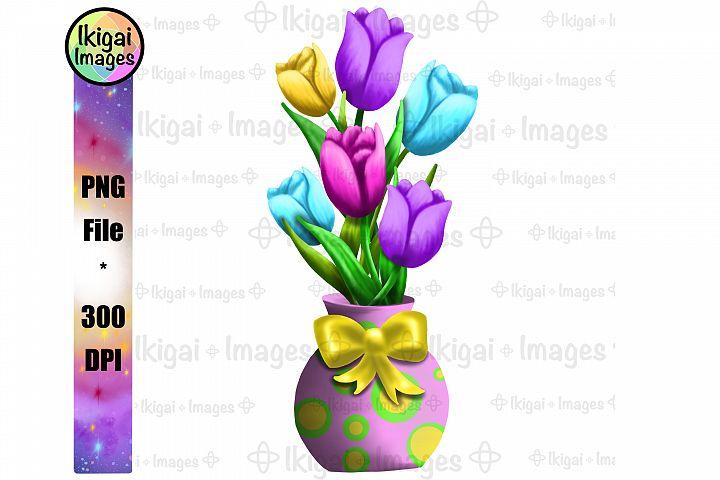 Spring Flowers Tulip Bouquet in Vase Sublimation PNG Design