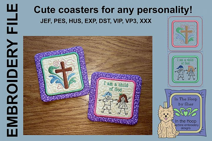 Child of God Coasters - 4 x 4 and 5 x 7 Hoops