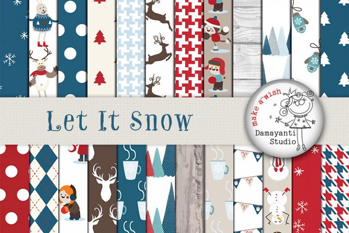 Let it snow , Christmas, Winter Digital Papers