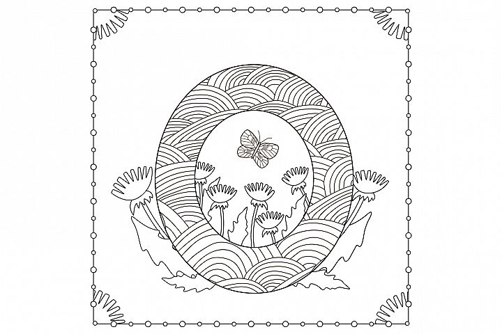 Letter O. Flowers. Coloring page.