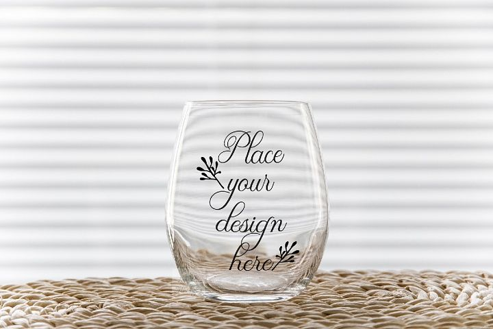 PSD Stemless wine glass tumbler mockup wineglass mock up