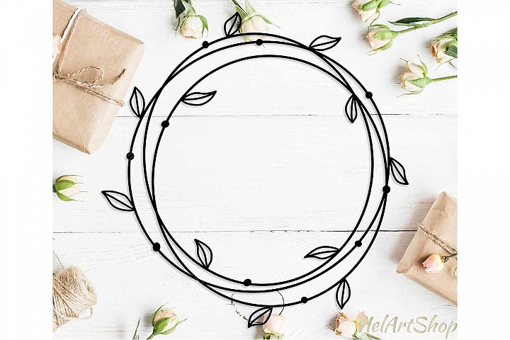 Circle frame with leaves svg, Round frame svg, Double frame