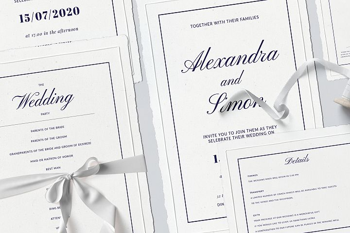 Classic Elegant Wedding Invitation Suite
