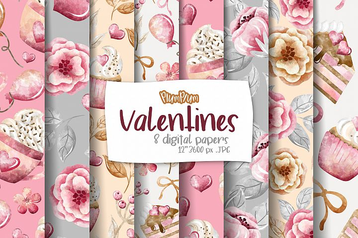 Valentines Digital Papers