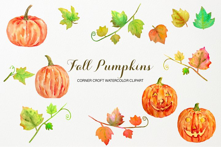 Watercolor Golden Pumpkin Clipart