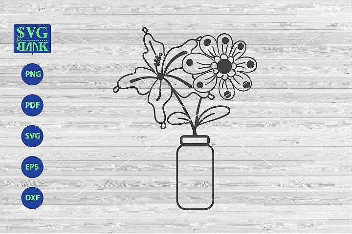 Flower on jar Svg, jar svg, flower on vase svg, flowers dxf