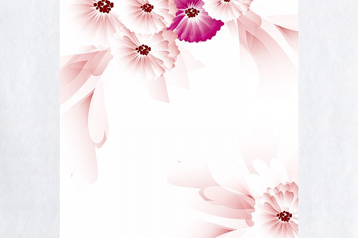 Abstract vector background with pink flowers