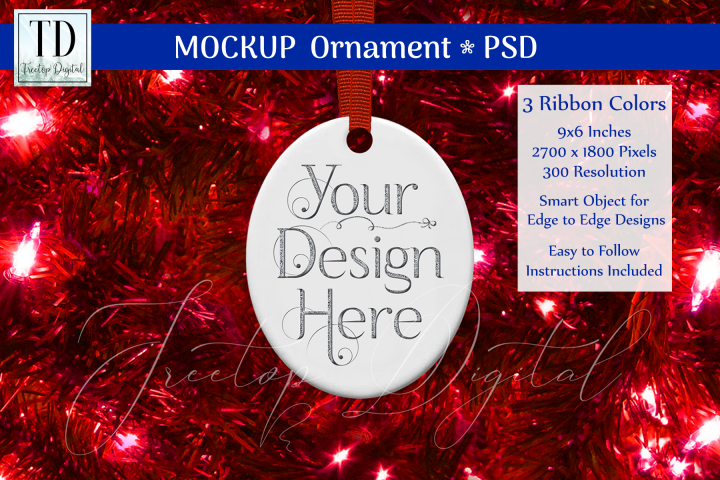 Oval Christmas Ornament Mockup, Bauble Mock-Up, Reds, PSD