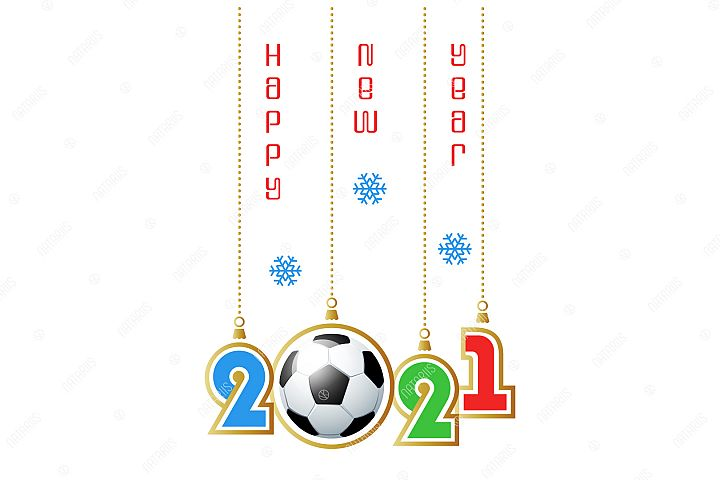 2021 Happy New Year. Sports greeting card. Soccer.