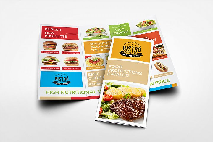 Food Products Catalog Tri-Fold Brochure Template