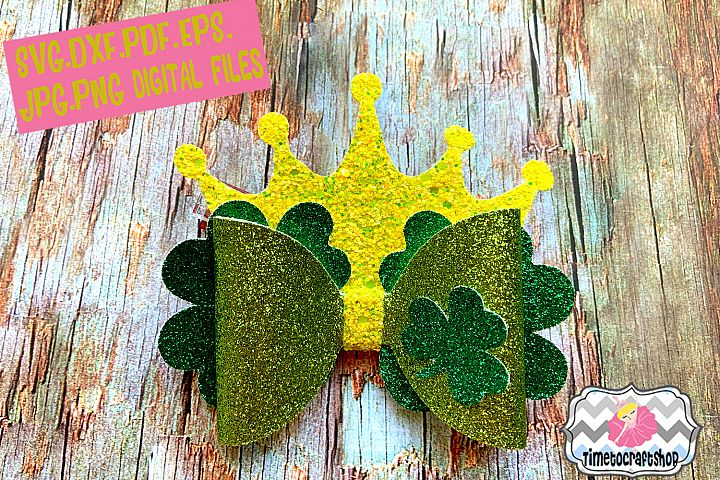 St Patricks Day Shamrock Crown Hair bow Template