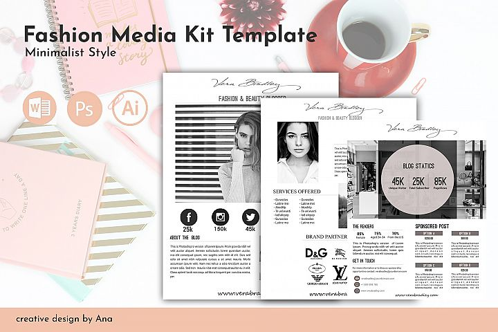 Fashion Media Kit Template 3 Page, Blog Media Press