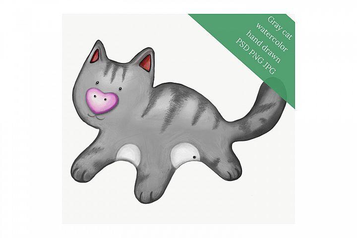 Gray cat watercolor hand drawn