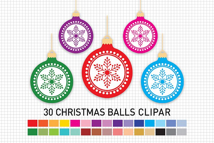 Christmas Balls Clipart, Christmas Balls Graphic and Illustrations, Christmas Clipart / Scrapbooking, Card Making, Decorations