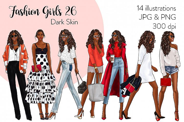 Fashion illustration clipart - Fashion Girls 26 - Dark Skin