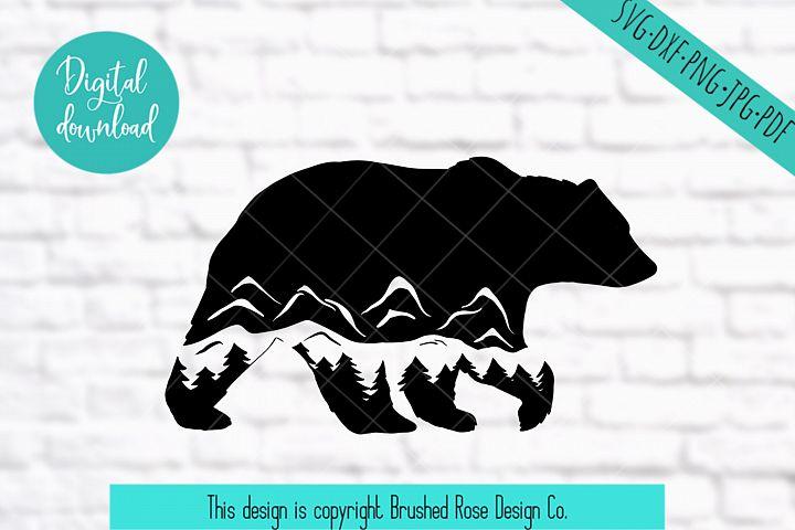 bear svg, mountain bear clipart, mountain, adventure explore