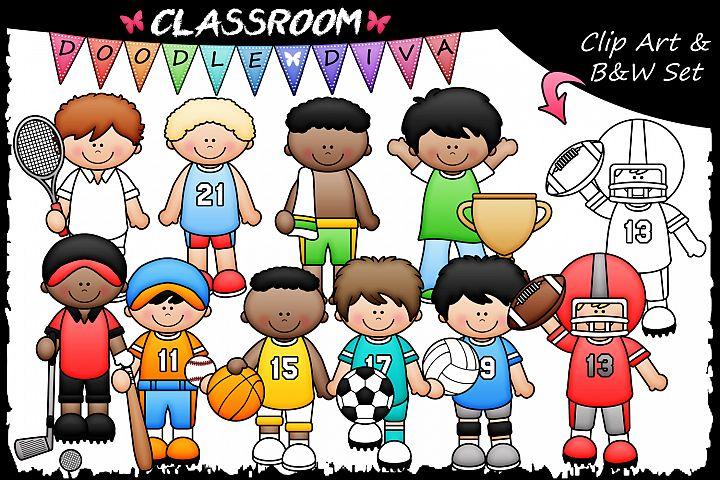 Sports Boys - Classroom Doodle Diva Clip Art & B&W Set