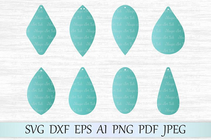 Earrings svg file, Earring template cut file, Tear drop svg file, Earrings with hole, Leaf earrings, Leather earrings, Earrings laser cut