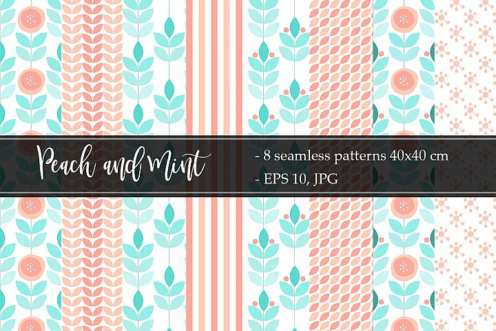 Peach and Mint Vector patterns
