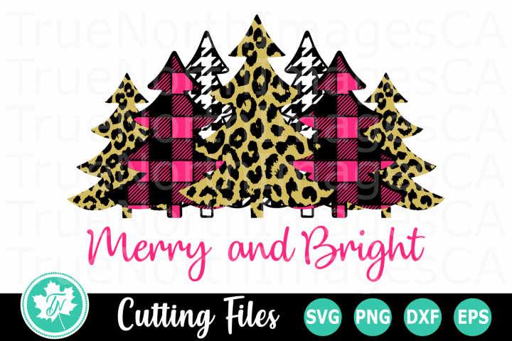 Merry and Bright Pink Trees - A Christmas SVG Cut File