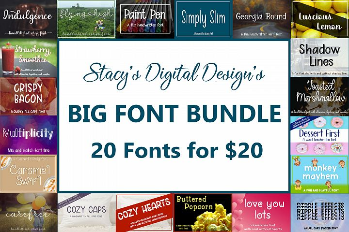 Big Font Bundle - 20 Handwritten Fonts