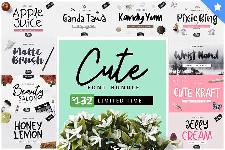 Cute Font Bundle by YandiDesigns