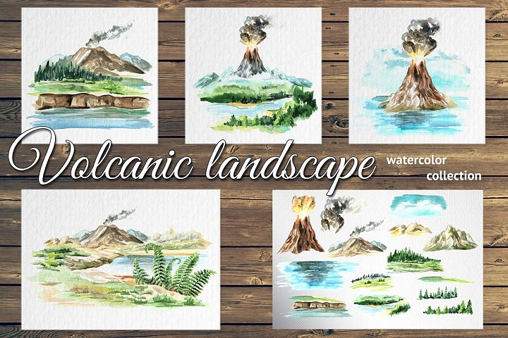 Volcanic landscape. Watercolor set