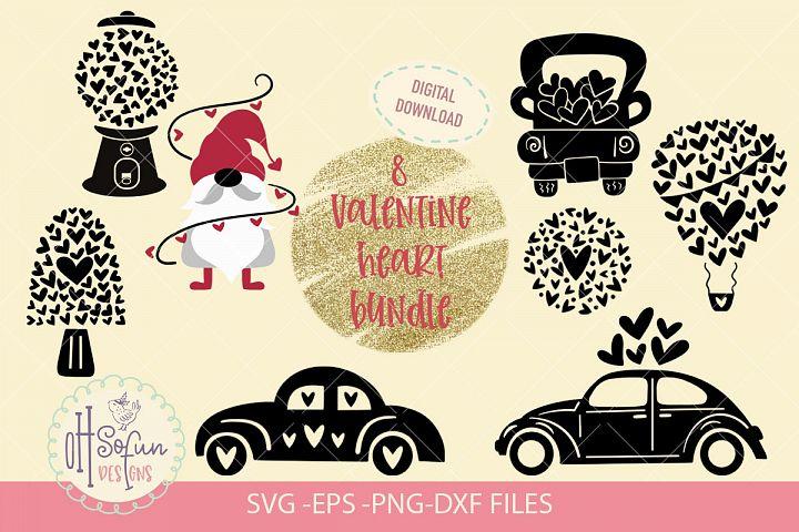 8 Valentine heart Bundle, Gnome, volkswagen, Valentine truck